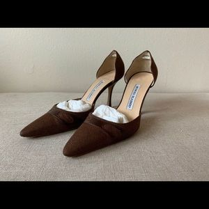 Manolo Blahnik Brown Mocha Canvas Heels 36.5 6.5 B